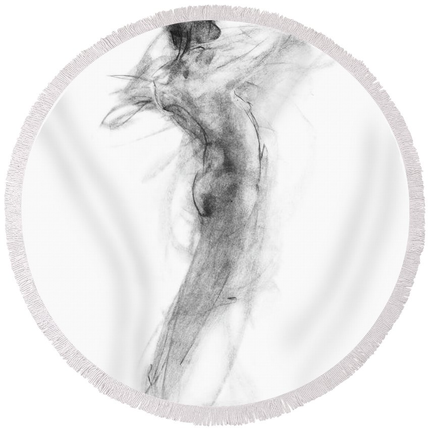 Nude Round Beach Towel featuring the drawing Girl In Movement by Christopher Williams
