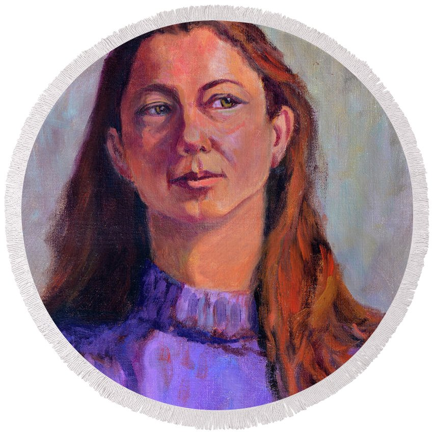 Portrait Round Beach Towel featuring the painting Girl In Purple by Keith Burgess