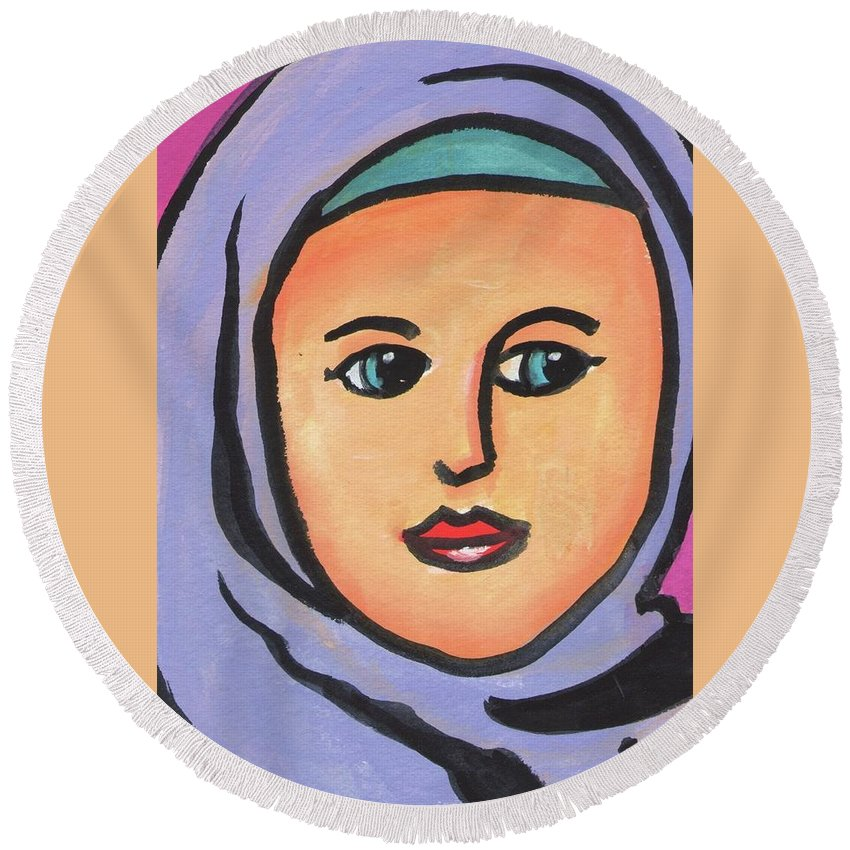 Girl Round Beach Towel featuring the painting Girl In Purple Scarf by Daniel Grant