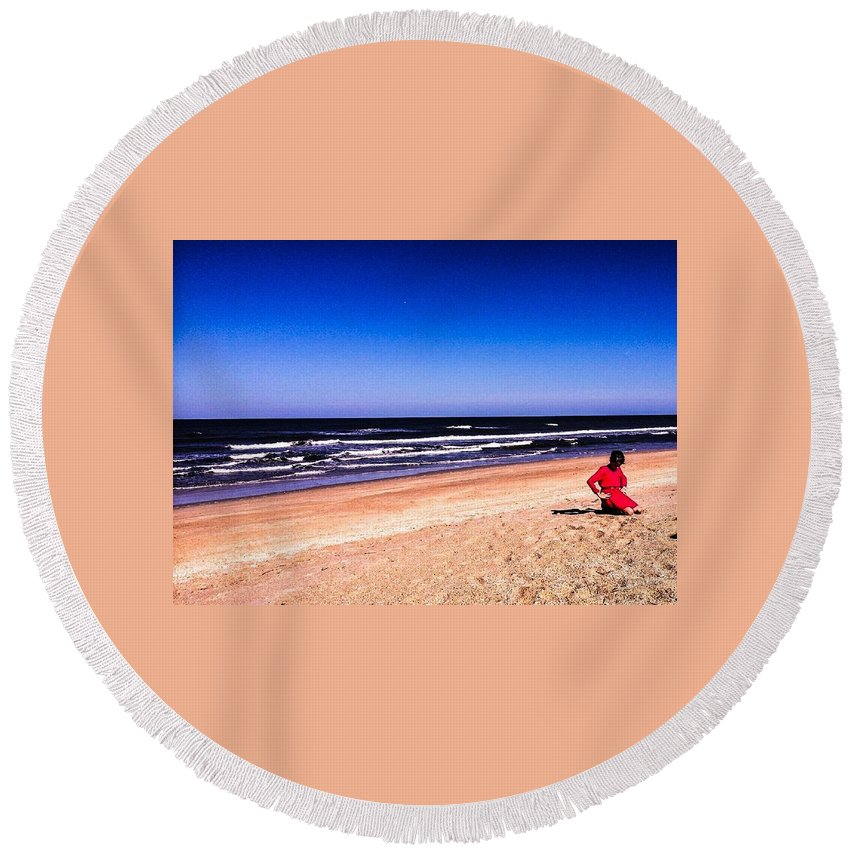 Landscape Round Beach Towel featuring the photograph Girl In Red Dress by Denise DuFresne