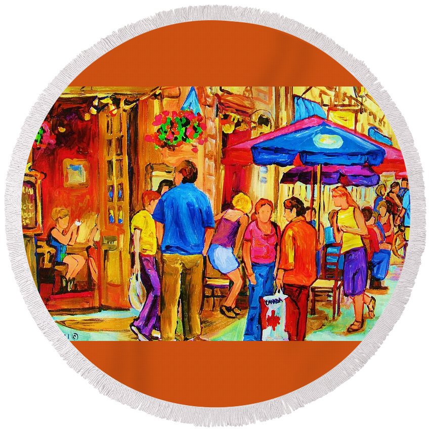 Montreal Cafe Scenes Round Beach Towel featuring the painting Girl In The Cafe by Carole Spandau