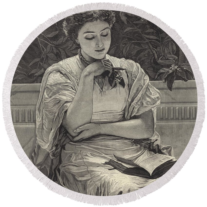 Girl Reading Round Beach Towel featuring the drawing Girl Reading by Charles Edward Perugini