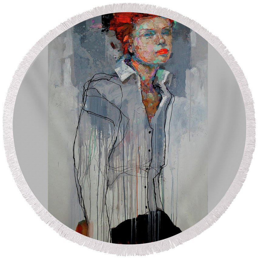 Girl Round Beach Towel featuring the painting Girl - Spring by Viktor Sheleg