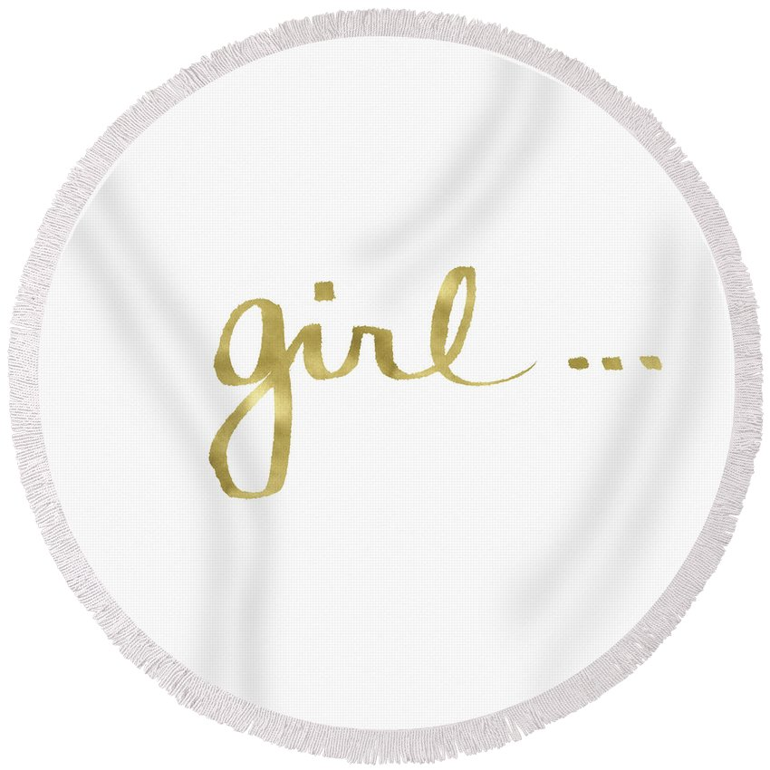Little Black Dress Round Beach Towel featuring the painting Girl Talk Gold- Art By Linda Woods by Linda Woods