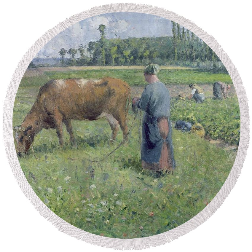Girl Round Beach Towel featuring the painting Girl Tending A Cow In Pasture by Camille Pissarro