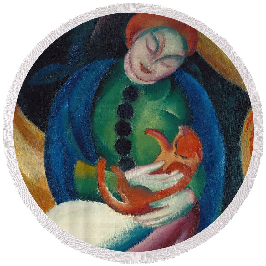 Marc Round Beach Towel featuring the painting Girl With A Cat II by Franz Marc