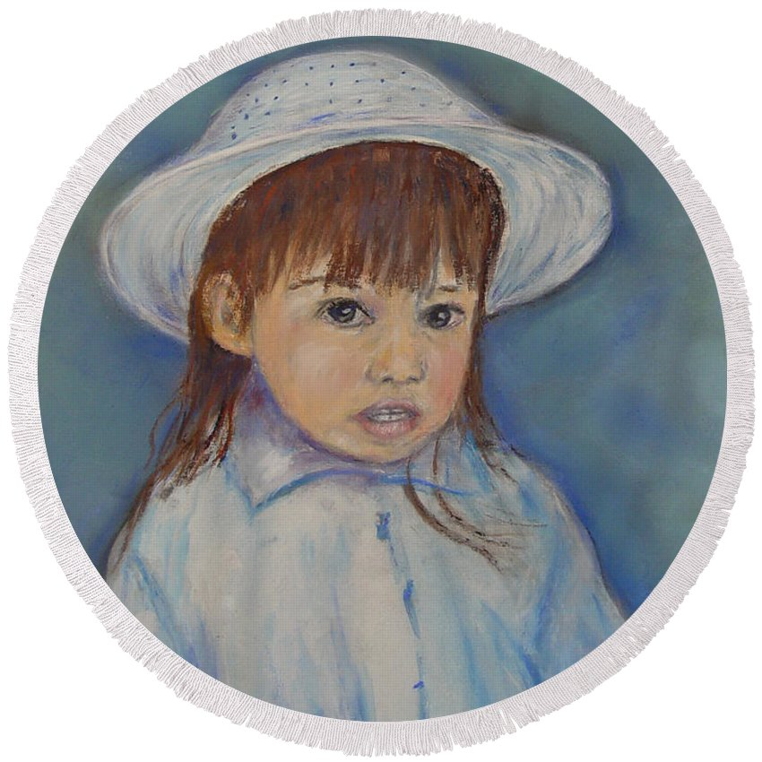 Girl Round Beach Towel featuring the painting Girl With A Hat by Loretta Luglio
