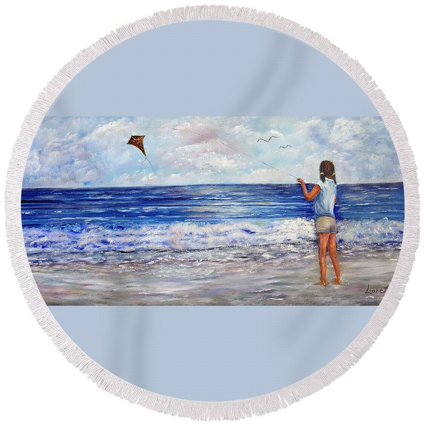 Kite Round Beach Towel featuring the painting Girl With A Kite by Loretta Luglio