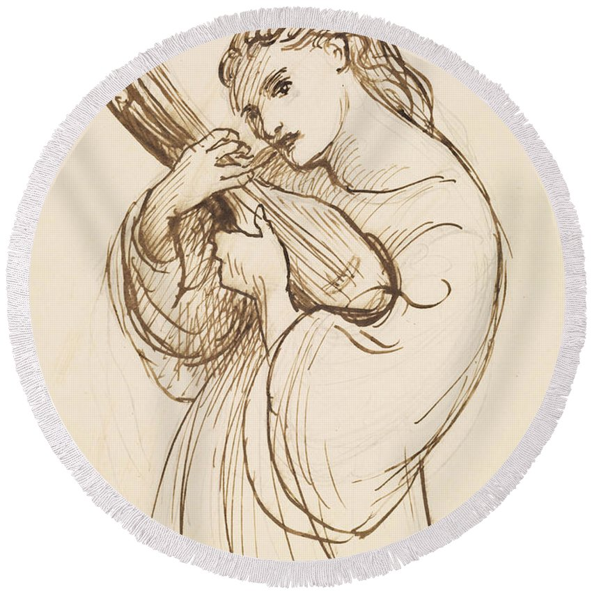 Dante Gabriel Rossetti Round Beach Towel featuring the drawing Girl With A Musical Instrument by Dante Gabriel Rossetti