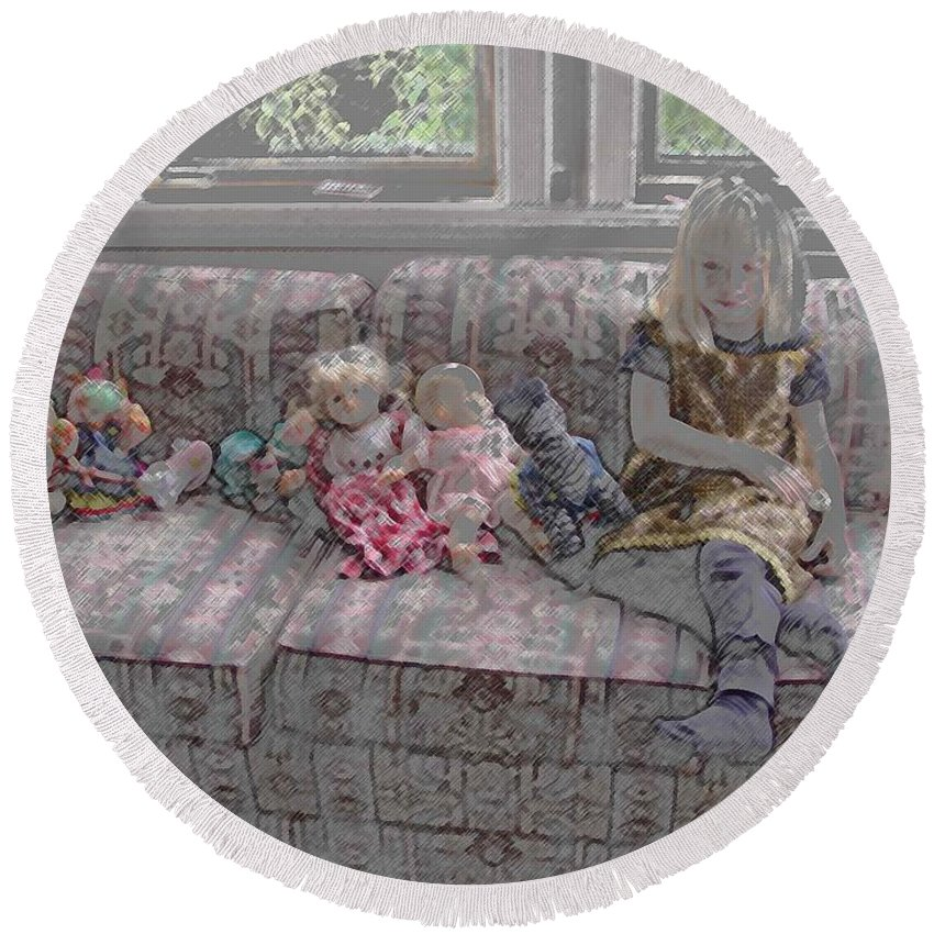 Girl Round Beach Towel featuring the digital art Girl With Dolls by Ron Bissett