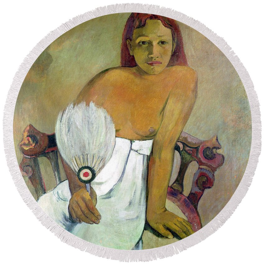 Girl With Fan Round Beach Towel featuring the painting Girl With Fan by Paul Gauguin