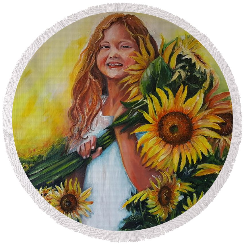 Art Round Beach Towel featuring the painting Girl With Sunflowers by Rita Fetisov