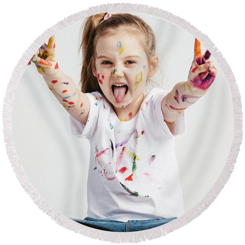 Girl Round Beach Towel featuring the photograph Girl With Victory Sign Sticking Out Her Tounge by Michal Bednarek