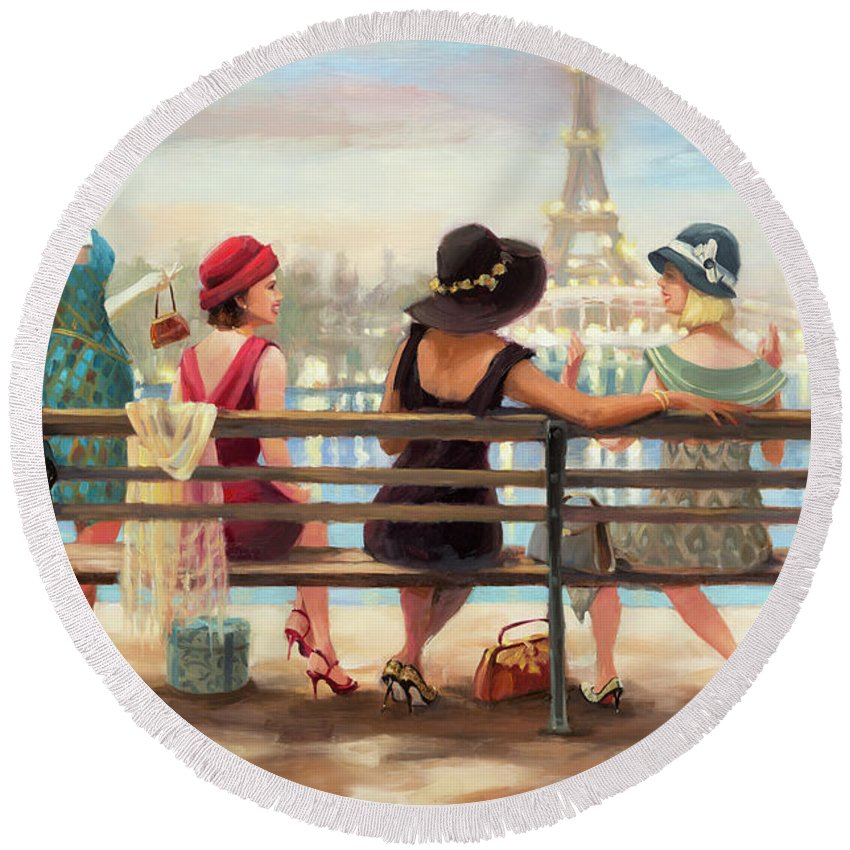 Paris Round Beach Towel featuring the painting Girls Day Out by Steve Henderson