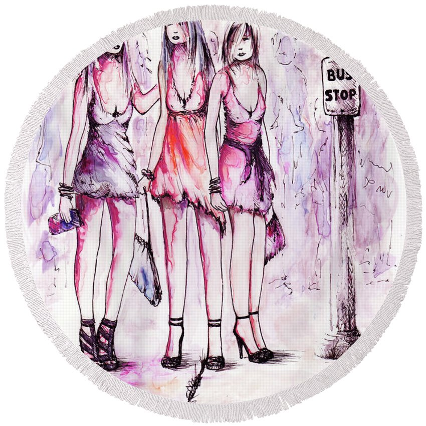Figure Round Beach Towel featuring the drawing Girls Night Out by Rachel Christine Nowicki