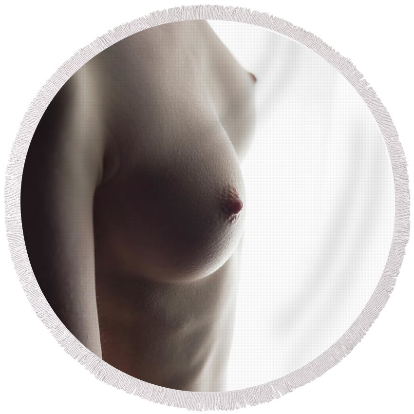Nude Art Round Beach Towel featuring the photograph Girls Torso In Front Of Window by Michael Maximillian Hermansen