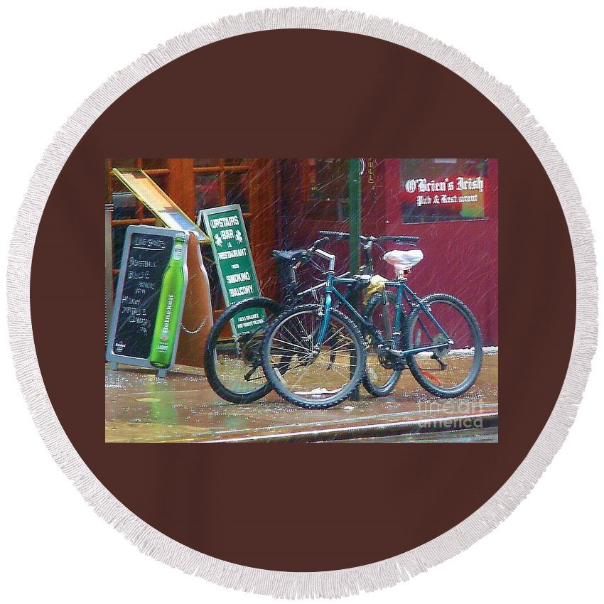 Bike Round Beach Towel featuring the photograph Give Me Shelter by Debbi Granruth