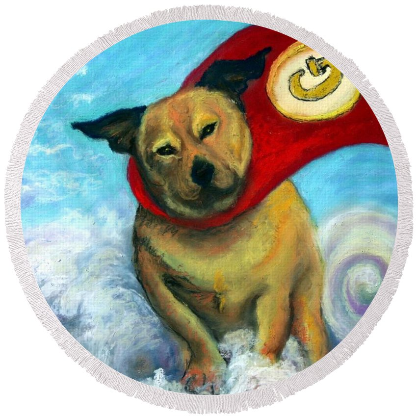Dog Round Beach Towel featuring the painting Gizmo The Great by Minaz Jantz