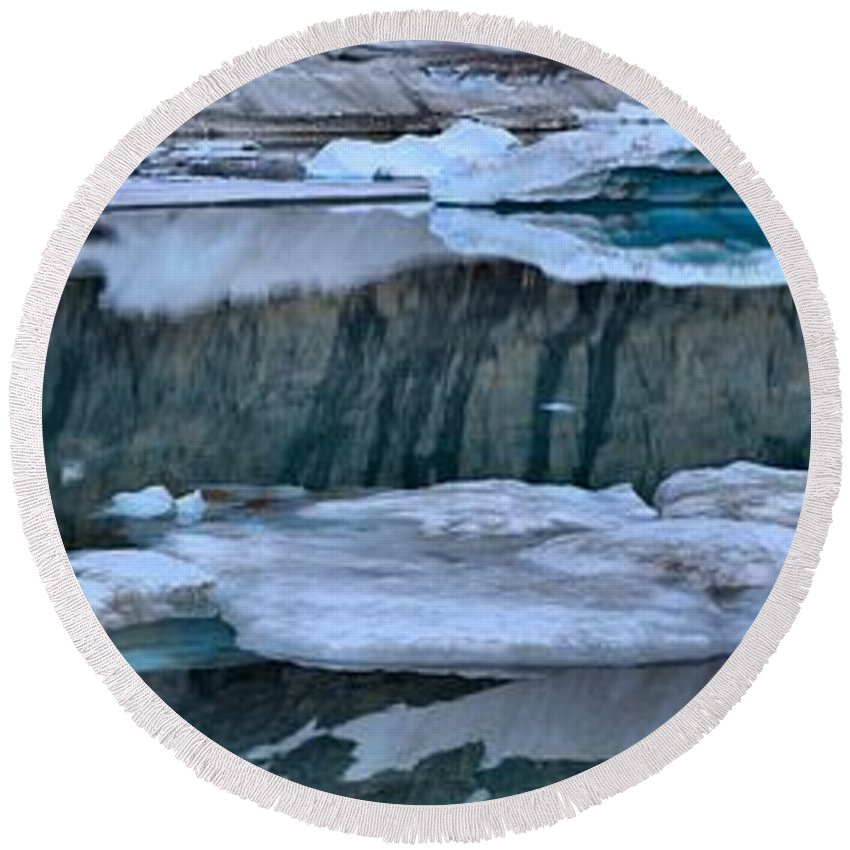 Gacier Iceberg Lake Round Beach Towel featuring the photograph Glacier Iceberg Panorama by Adam Jewell