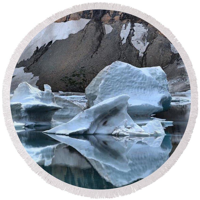Gacier Iceberg Lake Round Beach Towel featuring the photograph Glacier Iceberg Reflections by Adam Jewell