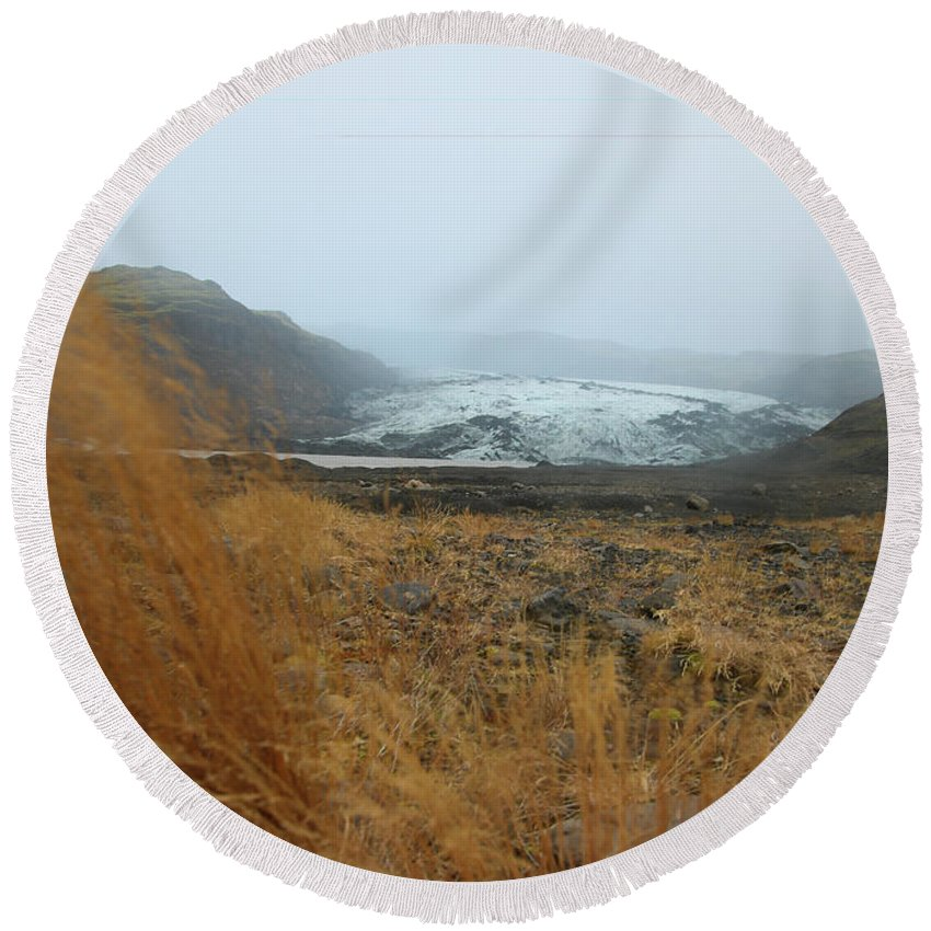 Glacier Round Beach Towel featuring the photograph Glacier In The Distance by Perggals - Stacey Turner