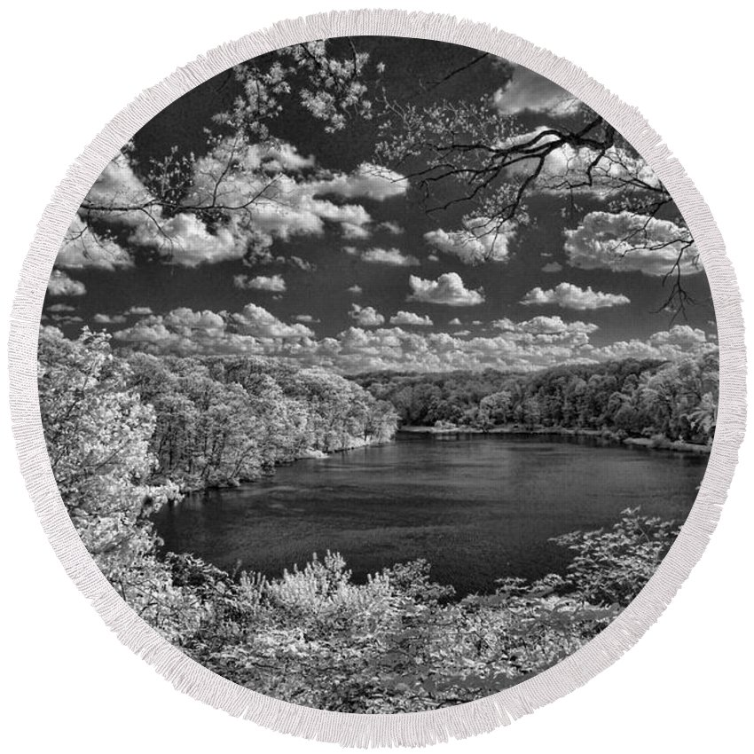 Infrared Round Beach Towel featuring the photograph Glacier Lake by Michael McGowan