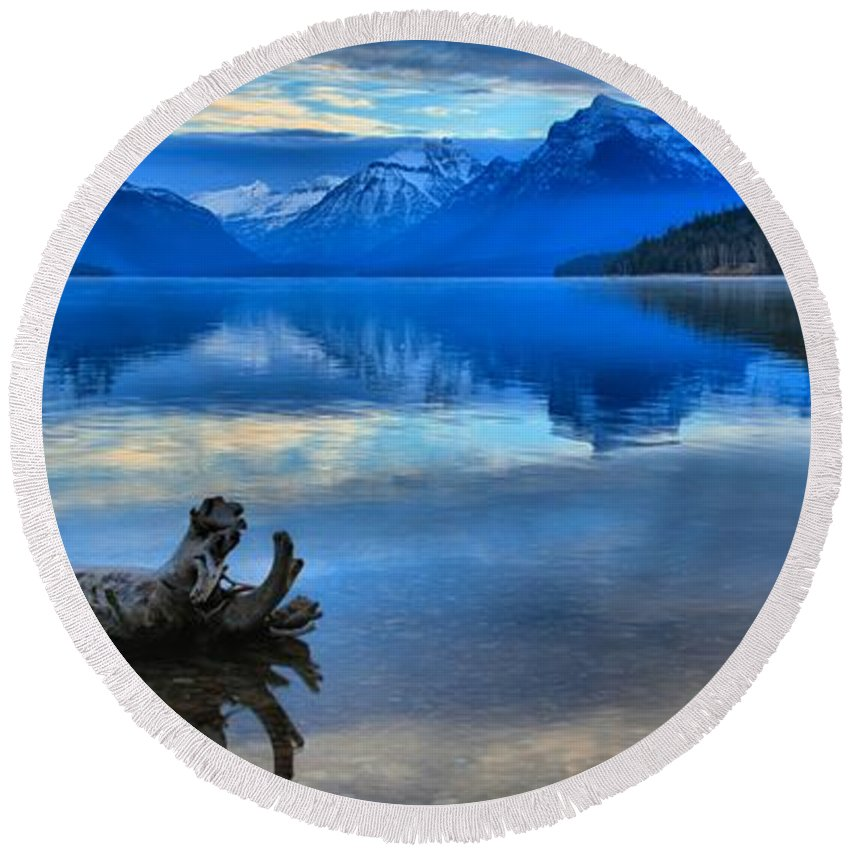 Lake Mcdonald Round Beach Towel featuring the photograph Glacier Mountain Reflections by Adam Jewell