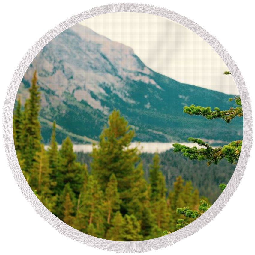 Round Beach Towel featuring the photograph Glacier Np View by Matthew Justis