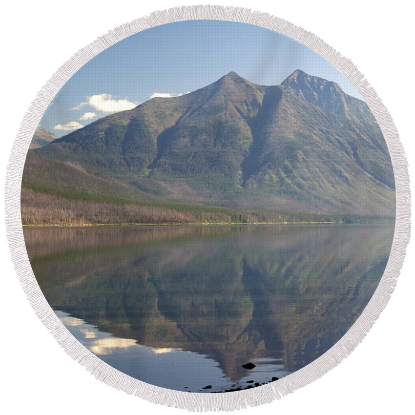Glacier National Park Round Beach Towel featuring the photograph Glacier Reflection1 by Marty Koch