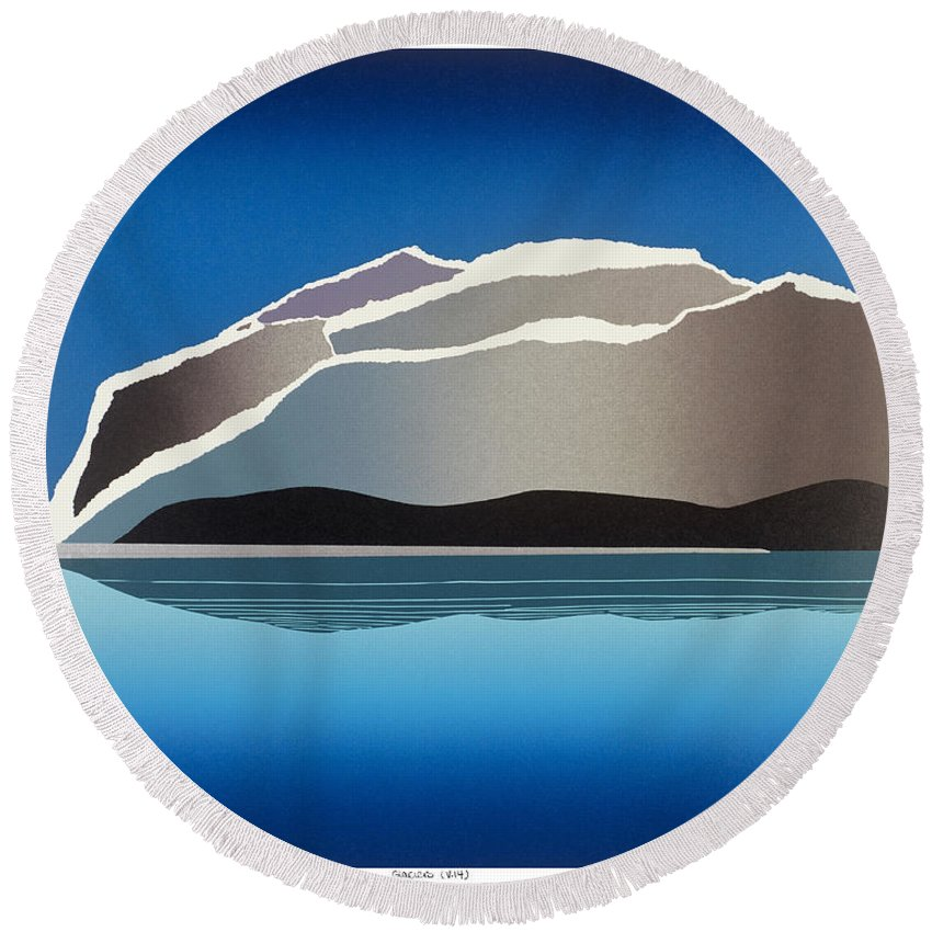 Landscape Round Beach Towel featuring the mixed media Glaciers by Jarle Rosseland