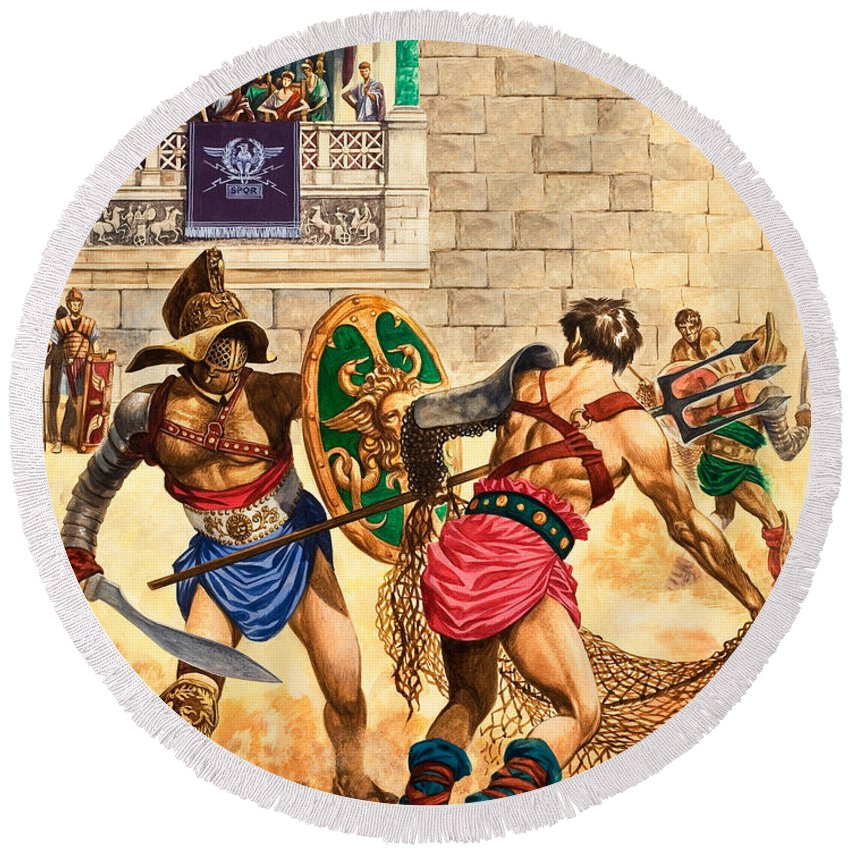 Gladiator Round Beach Towel featuring the painting Gladiators by Peter Jackson