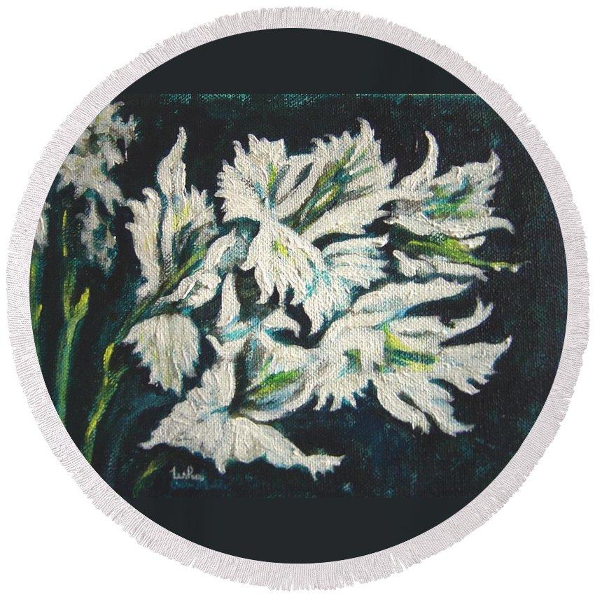 Gladioli Round Beach Towel featuring the painting Gladioli by Usha Shantharam