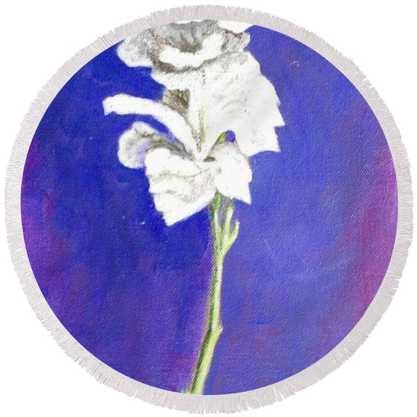 Flower Round Beach Towel featuring the painting Gladiolus 1 by Usha Shantharam