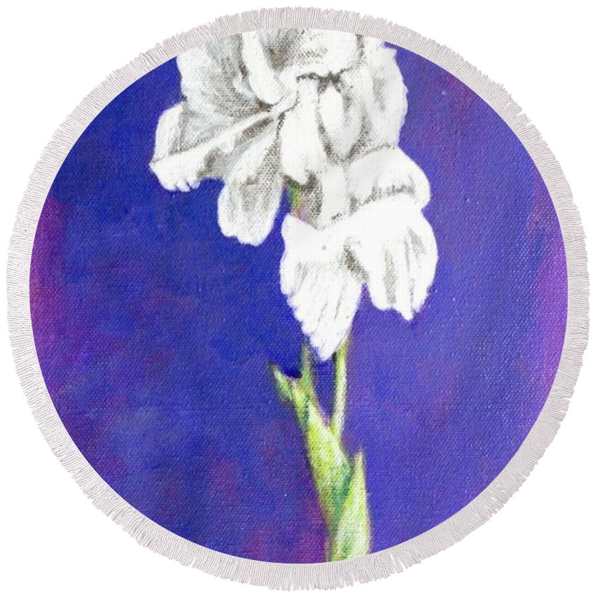 Round Beach Towel featuring the painting Gladiolus 2 by Usha Shantharam
