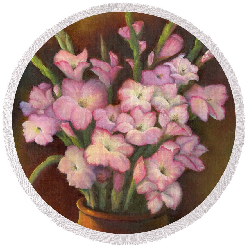 Flowers Round Beach Towel featuring the painting Glads by Marlene Book