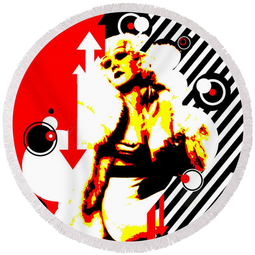 Nostalgic Seduction Round Beach Towel featuring the digital art Glamour Gal by Chris Andruskiewicz