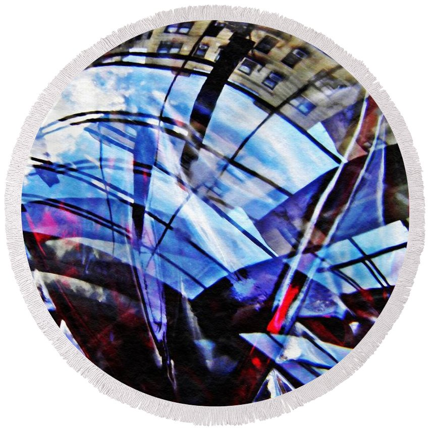 Abstract Round Beach Towel featuring the photograph Glass Abstract 219 by Sarah Loft