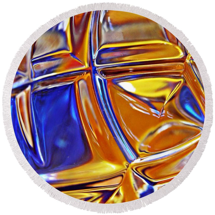 Glass Round Beach Towel featuring the photograph Glass Abstract 768 by Sarah Loft