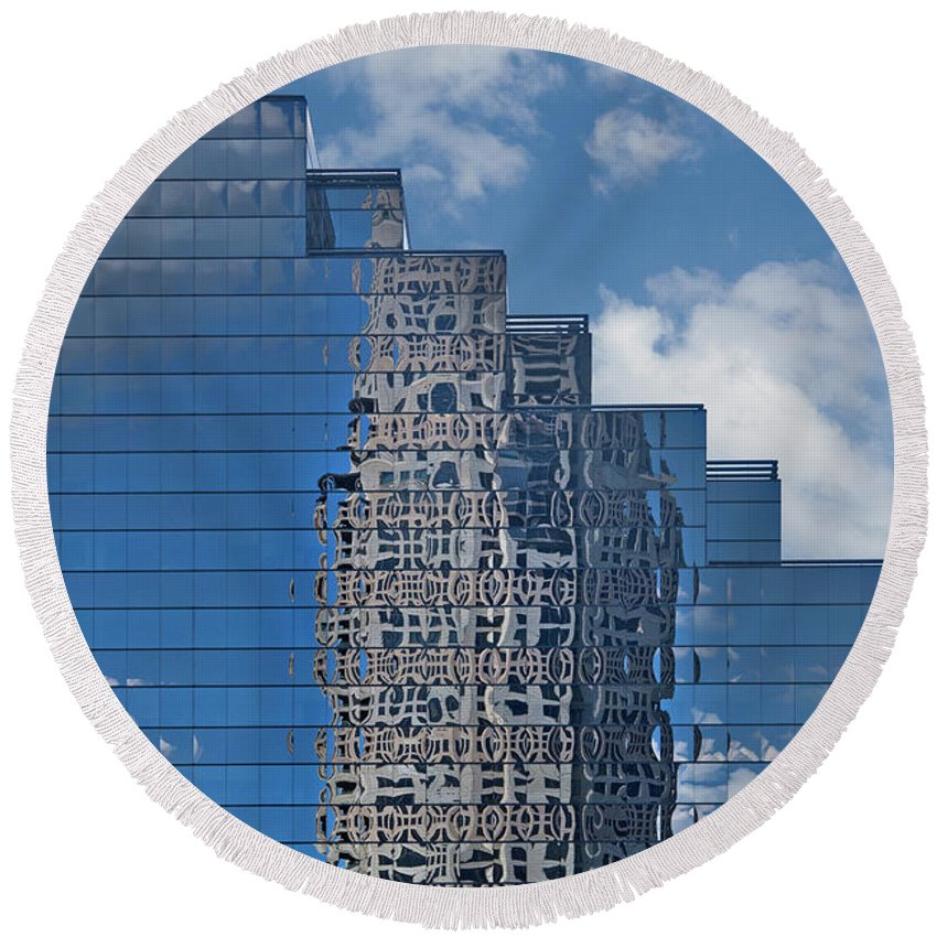 Reflections Round Beach Towel featuring the photograph Glass Building Reflections by Jan Stittleburg