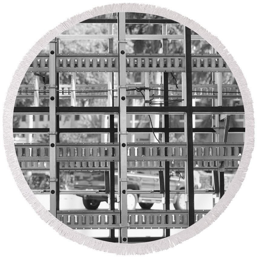 Black And White Round Beach Towel featuring the photograph Glass Holders by Rob Hans