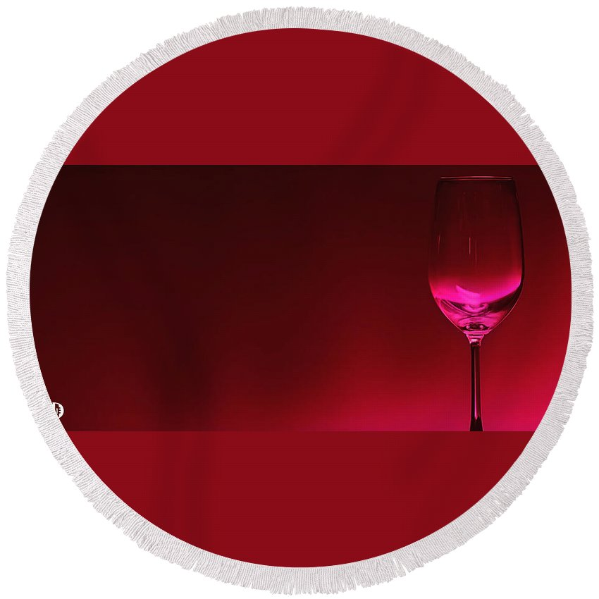Wine Round Beach Towel featuring the digital art Glass Of Wine by Abhijeet Dhidhatre