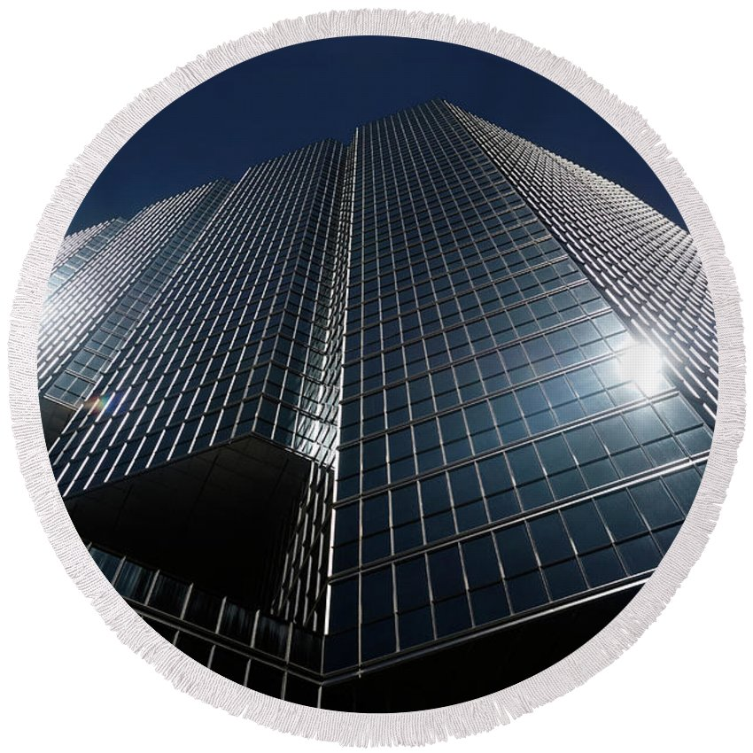 Office Round Beach Towel featuring the photograph Glass Office Building by Maxim Images Prints