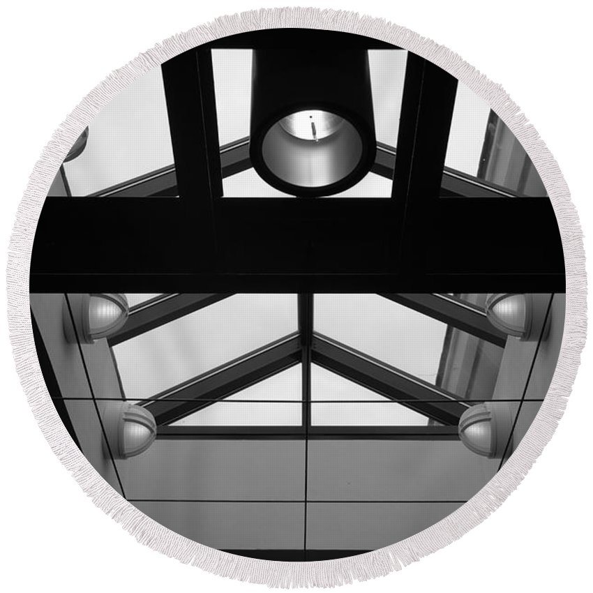 Black And White Round Beach Towel featuring the photograph Glass Sky Lights by Rob Hans