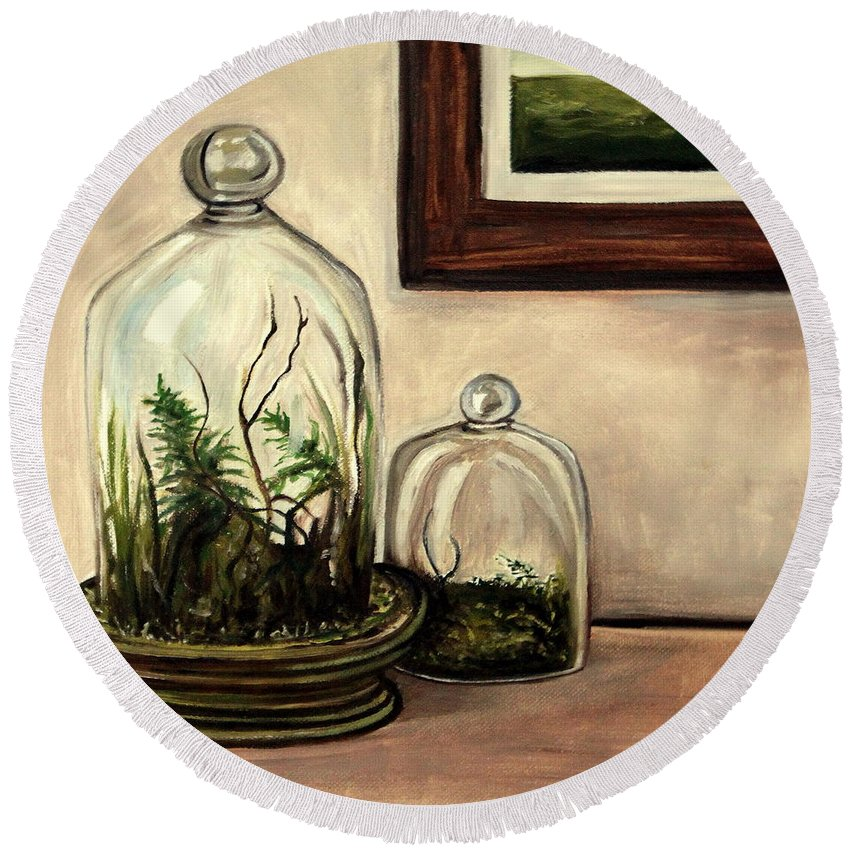 Glass Round Beach Towel featuring the painting Glass Terrariums by Elizabeth Robinette Tyndall