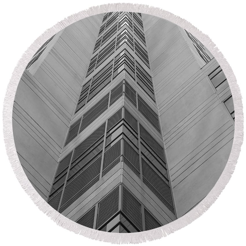 Architecture Round Beach Towel featuring the photograph Glass Tower by Rob Hans