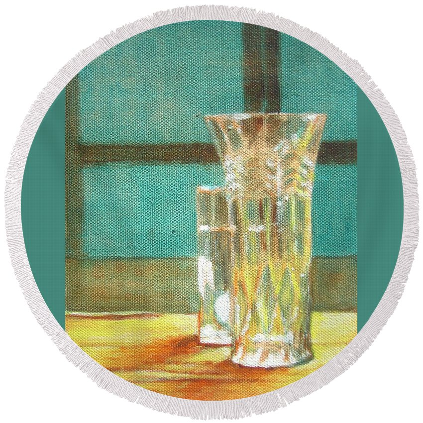 Glass Round Beach Towel featuring the painting Glass Vase - Still Life by Usha Shantharam