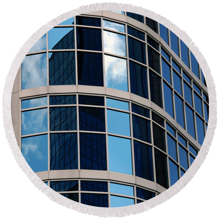 Nashville Round Beach Towel featuring the photograph Glass Window Reflection by Susanne Van Hulst