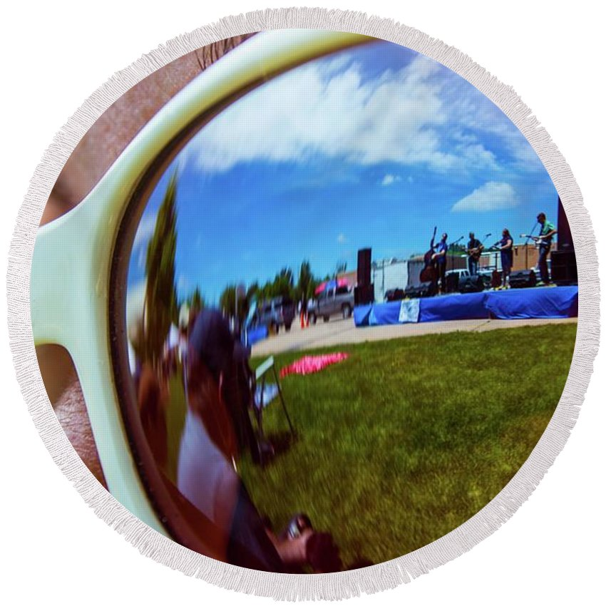 Reflection Round Beach Towel featuring the photograph Glasses Reflect by Tyson Kinnison