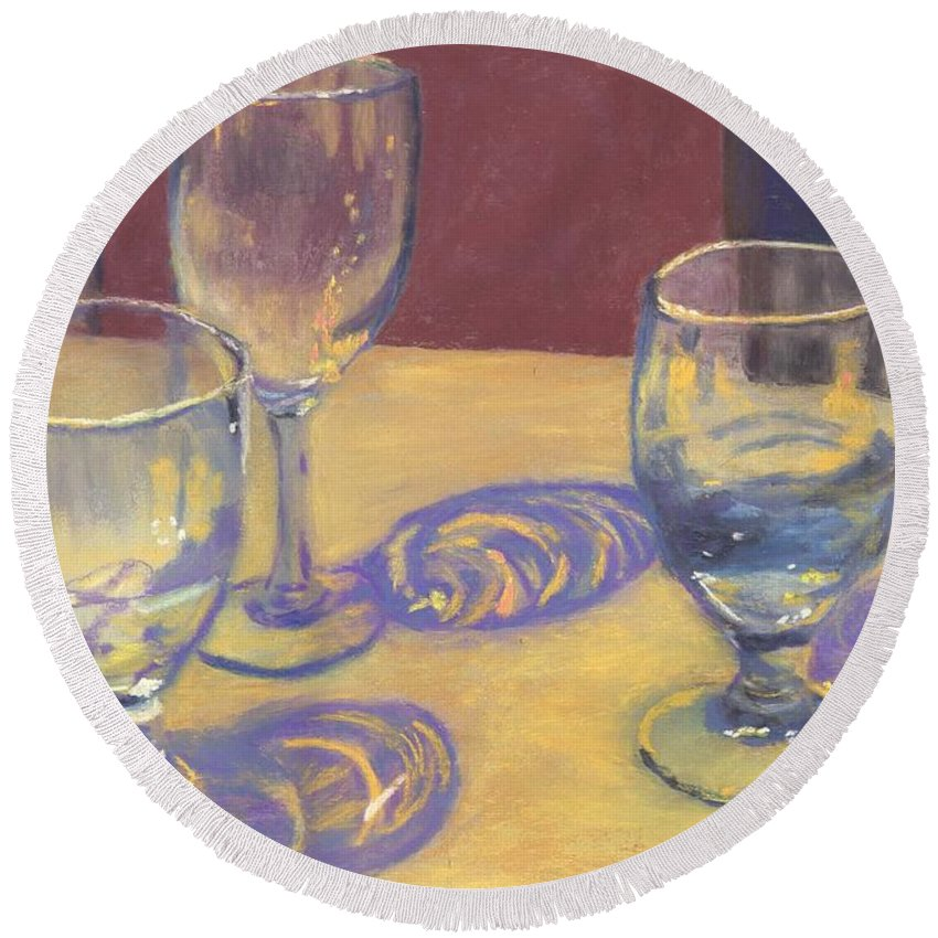 Glasses Round Beach Towel featuring the painting Glasslights by Sharon E Allen