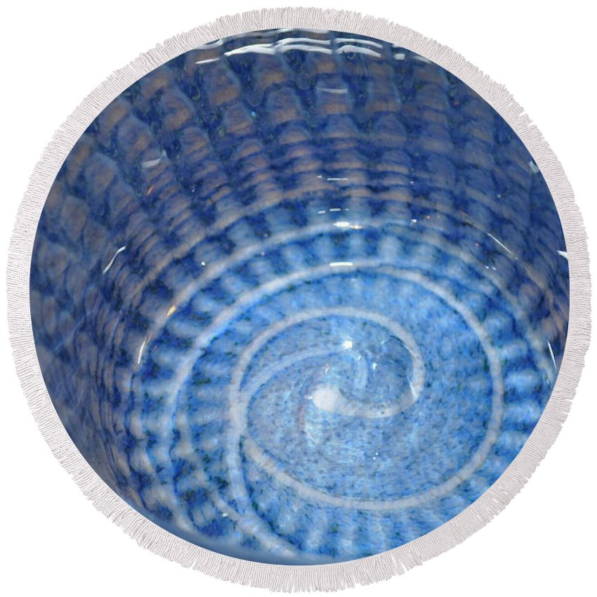 Abstract Round Beach Towel featuring the photograph Glassworks 3 by Marty Koch